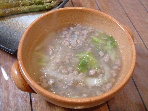 春雨とひき肉のスープ