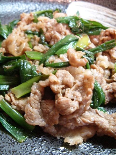 ニラと牛肉の炒め物